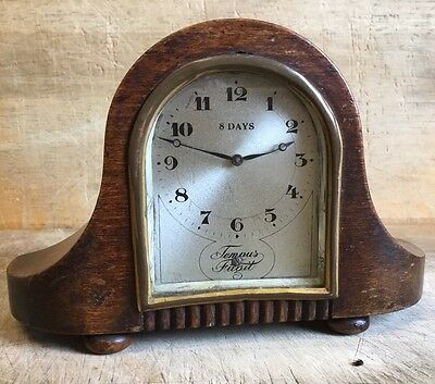 Small Unusual Antique 8 Day Wooden Case Mantel Clock with Ball Feet Working