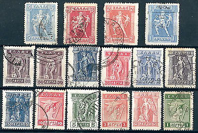 Greece Sc #214-229, used -1913-23 - Definitives - CV=8.30