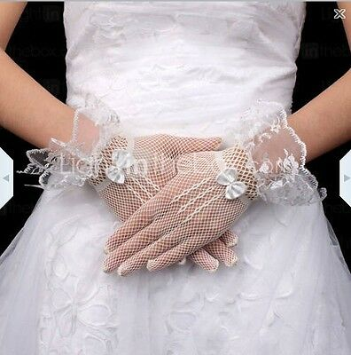 Classic Wedding 7 inch bridal White Fishnet netting Prom Lace top short Gloves