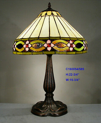 **Limited** TIFFANY STYLE STAINED GLASS LEADLIGHT LOUNGE TABLE LAMP NIGHT LIGHT