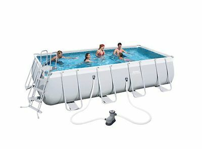 """Bestway Steel Pro Silver Rectangular Frame Pool With Pump 18' x 9' x 48"""" 56465"""
