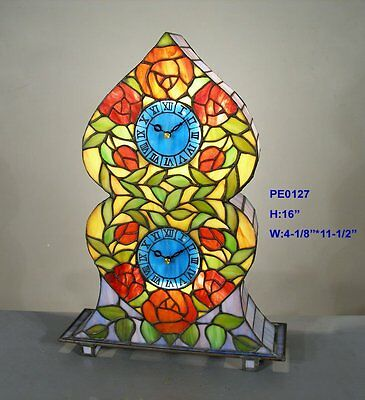 *limited* Tiffany Stained Glass Rare Double Clock Leadlight Lounge Table Lamp
