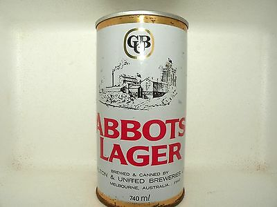 ABBOTS LAGER 740ml STRAIGHT STEEL EMPTY BEER CAN