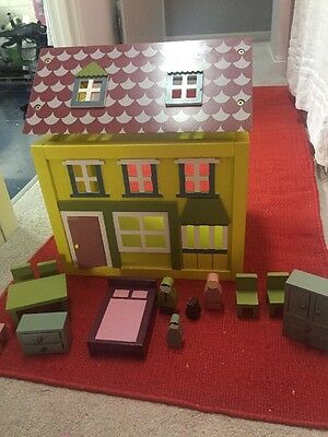 Wooden Dolls House With Furniture From HABITAT
