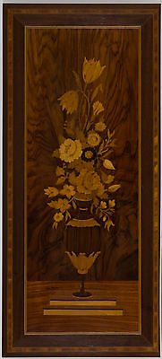 Mid 20th Century Antiques - Marquetry Picture, Vase of Flowers