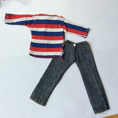 Sindy vintage dolls clothes 1960s Weekenders Striped Top and Jeans