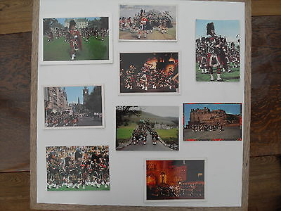 Scottish bagpipe bands - 9 different postcards
