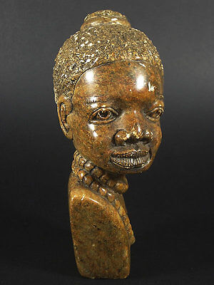 Genuine Vintage African Female Bust Hand Carved Stone Sculpture / Signed