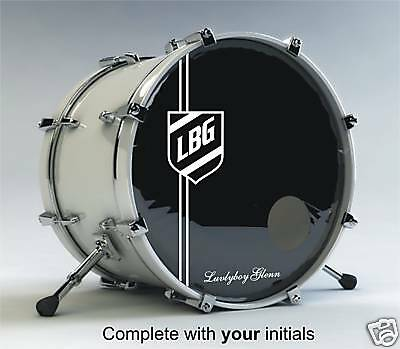 Bass drum shield with Initials logo / graphic / decal