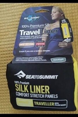 NEW! Sea To Summit Traveler & Pillow Insert 100% Premium Silk SB Liner Eucalypt