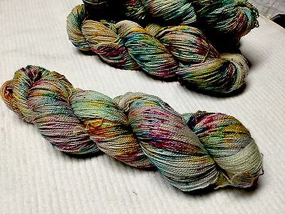 Hand Dyed  Hello Parker Merino Bamboo Lace Knitting Yarn X 1 Skein