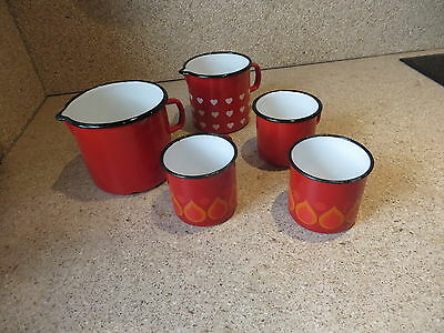 5 x Emaille Emaile Konvolut Milchtopf, Becher rot