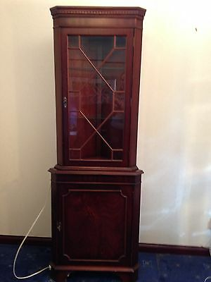 Corner Reproduction Display/Drinks/Glasses Cabinet with Cupboard Dark Wood