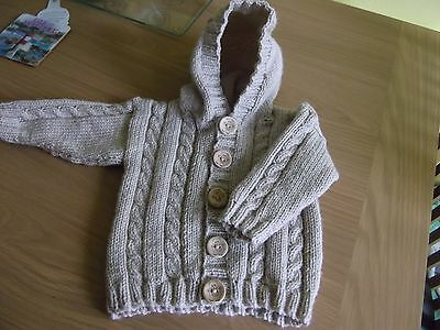 Hand Knitted Baby Boys/reborn Hooded Jacket 3-6 Months/reduced