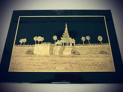 Picture / Painting / Art Gold Leaf Burmese Myanmar Buddhist Temple Handmade Lacq