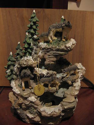 Westland North American Grey Wolfs Waterfall Statue #3646
