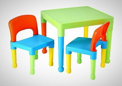 Liberty House Toys Children's Table and 2 Chairs Kids Set Plastic Multi Colour