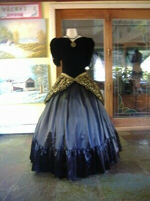 Black and Gold Civil War Southern Belle Ball Gown - Size L