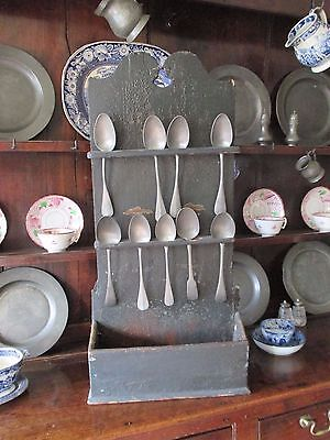 Antique 18th Century Georgian Wooden Original Paint Spoon Rack & Pewter Spoons