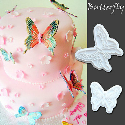 2Pcs Butterfly Fondant Cookies Cutter Plunger Sugarcraft Cake Decorating Mold