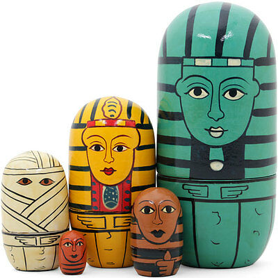 Fab set of 5 Egyptian style wooden russian dolls