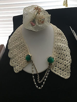 VINTAGE HAND CROCHETED ACCENT COLLAR w/SWEATER CLIP