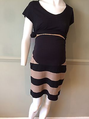 Black And Tan Striped Next Maternity Skirt Size 10