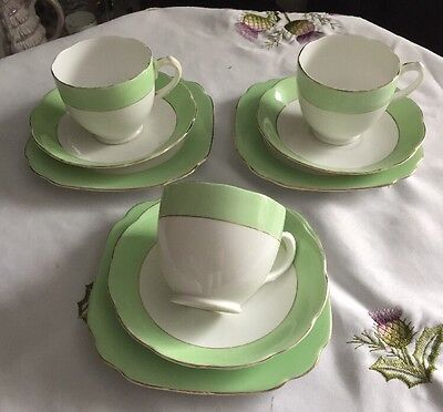 Lovely Vintage Bone China Cups,saucer & Tea Plates White & Green