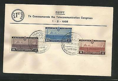 Egypt 1938 Telecommunications Set On FDC First Day Cover VF