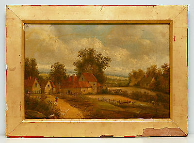 Beautiful c19th English School Oil Painting on Canvas, Village Landscape SIGNED