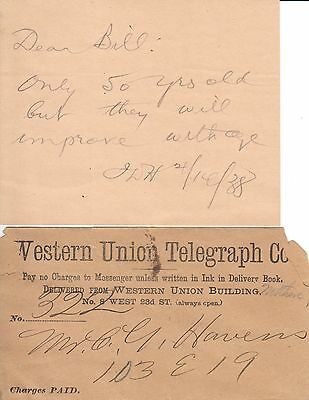 Three Telegraphs dated 1887 Western Union Depperman Collection