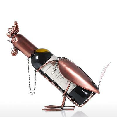 Tooarts Rooster Wine Shelf Metal Sculpture Practical Home Interior Gifts N2A6