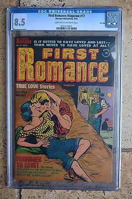 """First Romance #17, CGC, 8.5, RARE, """"Forbidden to Love"""" story, FILE COPY"""