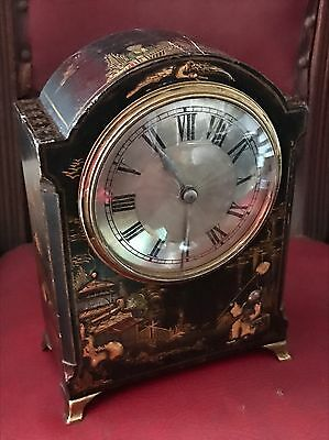 Antique Oriental Chinoiseries Hand Painted Old Wind Up Mantel Clock France