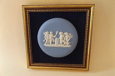 Vintage Wedgwood Jasperware Framed Plaque with Putti or Cherubs and Goat