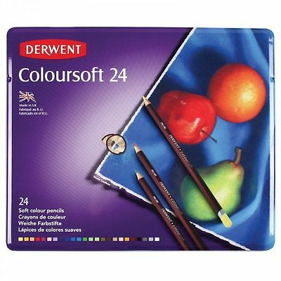 Derwent Coloursoft Pencil 24 Tin Set Soft Artists Blendable Colouring Pencils