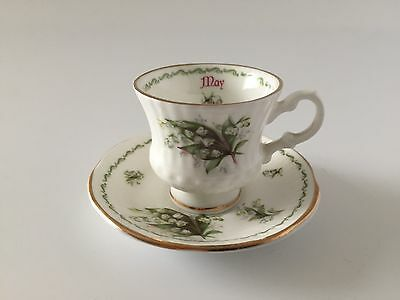 "Miniature Hand Crafted ""May"" Elizabethan Bone China Cup & Saucer"