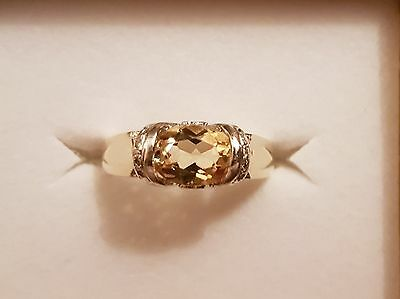 9ct Gold Ring with Citrine Stone and Diamonds