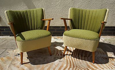 Pair Mid Century Vintage German Cocktail Chairs With Arms Armchairs C1965 Jn17-5