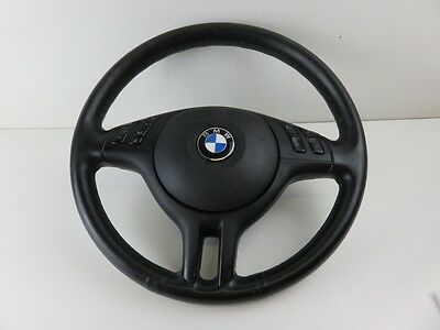 Bmw E46 3 Series Black Leather Sport Multi Function Steering Wheel And Airbag