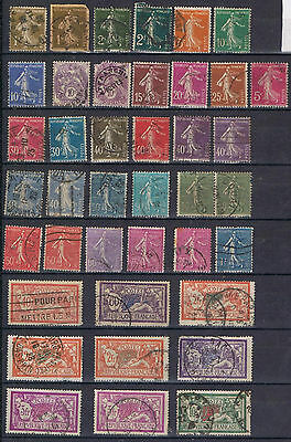 France Francaise 1920 selection to 10 francs  Used with duplicates