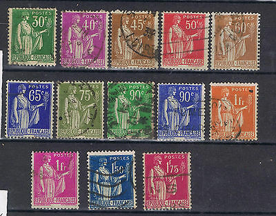 France Francaise 1932 Peace selection to 1fr 75c  Used