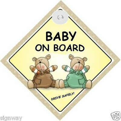 BABY ON BOARD! - Two Bears - MADE IN AUSTRALIA - with Suction Cup FREE POST