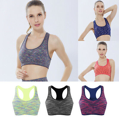 Shock Absorber Padded Seamless Crop Athletic Sport Yoga Training Bra Top Neon