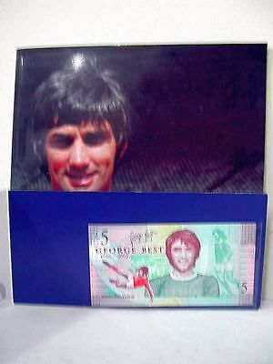 Uncirculated George Best Five £5 pound note with commemorative folder + book