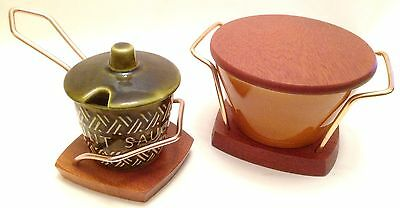 Wyncraft Lord Nelson Pottery Sugar Bowl Pot and Minty Sauce Pot on Wooden Stands