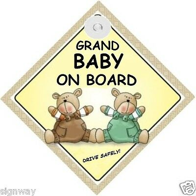 GRAND BABY ON BOARD! - Two Bears  MADE IN AUSTRALIA - with Suction Cop FREE POST