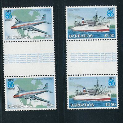 Barbados 1986 Expo '86 World Fair set of 2 in gutter pairs