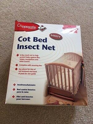 Cot bed insect mosquito net with ties Clippasafe