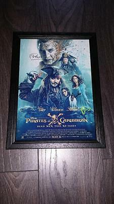 """Pirates Of The Caribbean 5  Pp Signed Framed  A4 12X8"""" Photo Poster Johnny Depp"""
